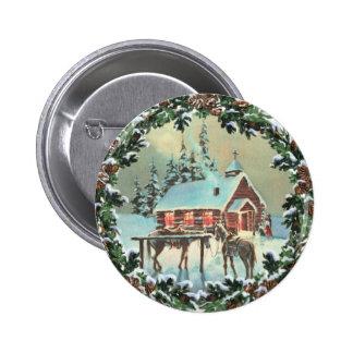 COUNTRY CHURCH & WREATH by SHARON SHARPE 6 Cm Round Badge