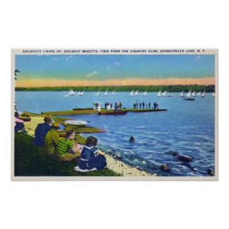 Country Club View of Sailboat Regatta # 2 Print