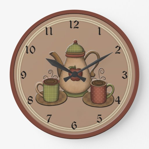 Country Coffee Kitchen Clock Wall Clock