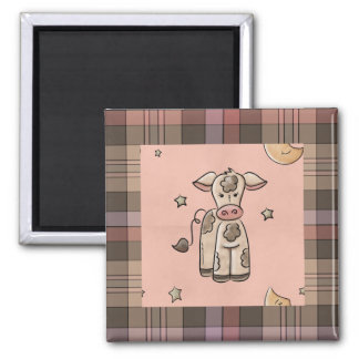 Country Collection Cow Plaid Fridge Magnet