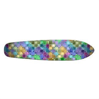 Country Colorful Patches Tile Mosaic Skateboard Deck