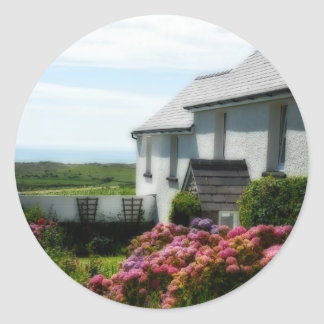 Country Cottage in Wales Classic Round Sticker