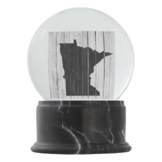 Country Cottage Rustic Minnesota Black and White Snow Globe
