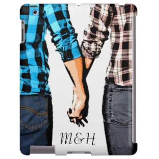 Country Couple Holding Hands with Initials