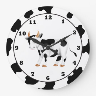 Country Cow Cartoon Clock