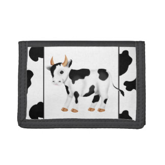 Country cow trifold nylon wallet