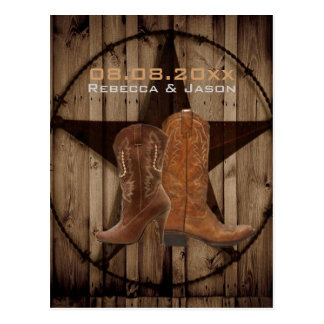 Country Cowboy Boots Western Wedding save the date Post Card