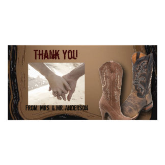 Country Cowboy Boots Western Wedding thankyou Photo Greeting Card
