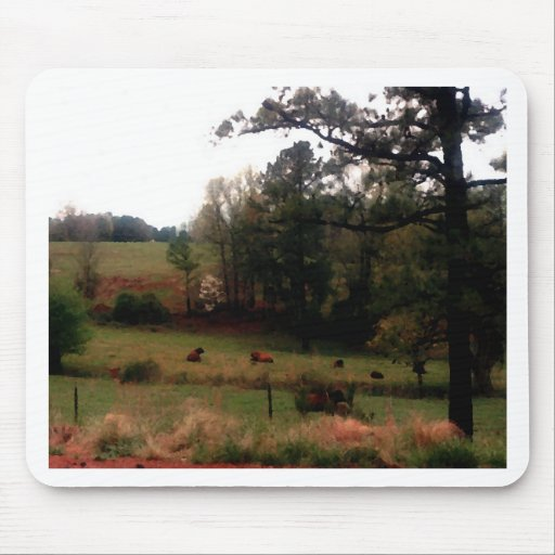 Country Cows Pasture Farm Americana Home Mouse Pads