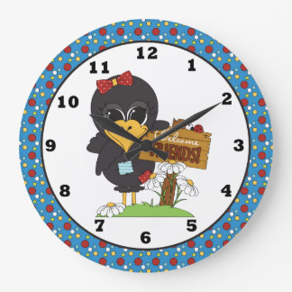 Country Crow Welcome Friends wall clock