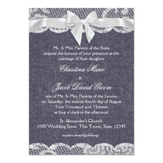 Country Denim and Lace Wedding Card