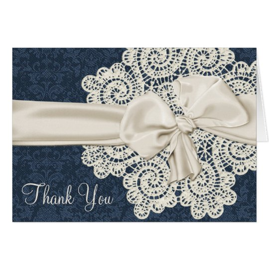 Country Denim & Ivory Lace Wedding Thank You Card