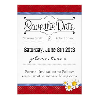 Country Dots Daisies Save the Date Custom Invitation