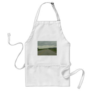 Country Driving - Long Road - Green Grass Adult Apron