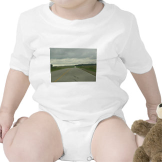 Country Driving - Long Road - Green Grass Baby Bodysuits