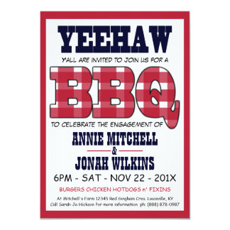 Country Engagement Party Picnic BBQ 11 Cm X 16 Cm Invitation Card