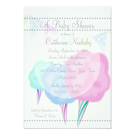 Country Fair Cotton Candy Baby Shower Card