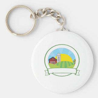 Country Farm Banner Basic Round Button Key Ring