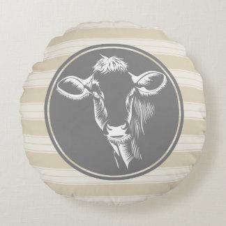 Country Farm Creamy Tan White Cow Sketch Round Cushion