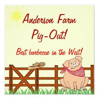 Country Farm Pig Barbecue 13 Cm X 13 Cm Square Invitation Card