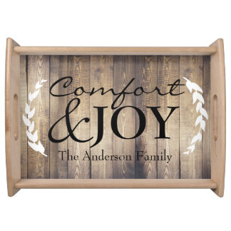 Country Farmhouse Wood Comfort & JOY Family Name Serving Trays