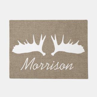 Country Faux Burlap White Moose Antlers Doormat