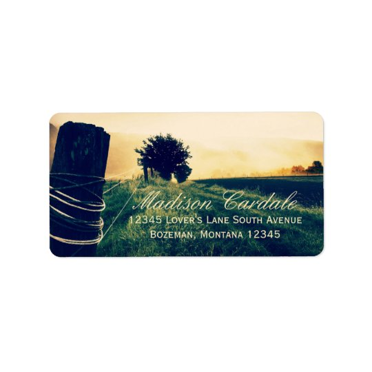 Country Field Fence Post Address Labels