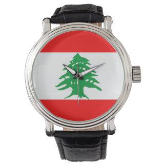 country flag lebanon wristwatch