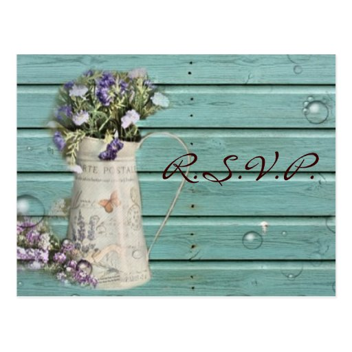 country floral barn wood rustic wedding rsvp postcards