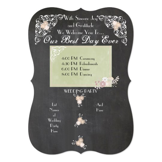 Country Floral Chalkboard Wedding Programs
