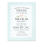 Country Floral Gingham Pink Blue Wedding Invitation