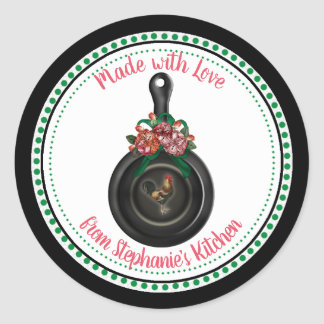 Country Floral |  Rooster Iron Skillet Kitchen Classic Round Sticker