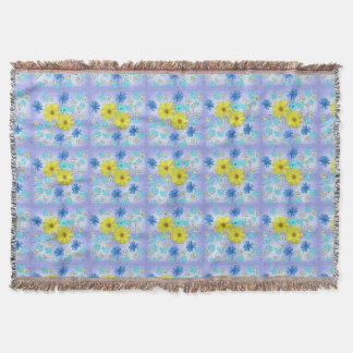 Country Flower Bouquet in Blue and Yellow Throw Blanket