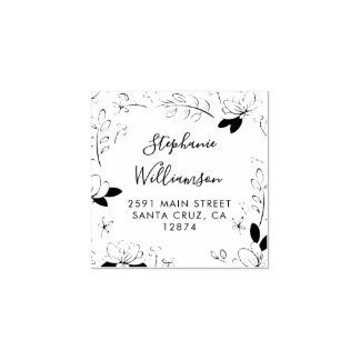 Country Flowers & Leaves Wedding Return Address Rubber Stamp