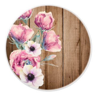 Country Flowers Rustic Barn Wood Ceramic Knob