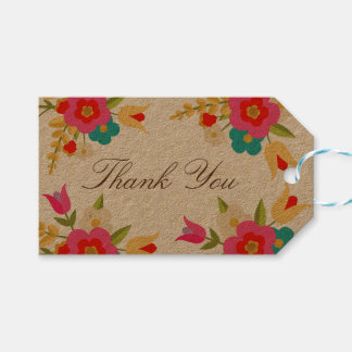 Country Flowers Thank You Gift Tags