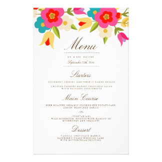 Country Flowers Wedding Dinner Menu 14 Cm X 21.5 Cm Flyer
