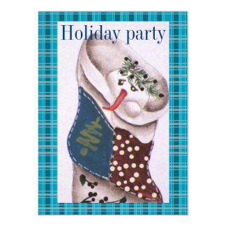 "Country Folk Snowman Holiday Party 5.5"" X 7.5"" Invitation Card"