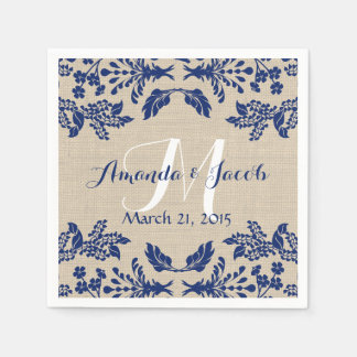Country Garden Damask Blue and Burlap Paper Napkin