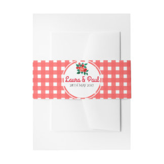 Country Gingham and Floral Invitation Belly Band