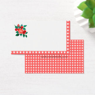 Country Gingham and Floral Place/Registry Card