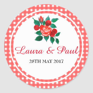 Country Gingham and Floral Wedding Sticker