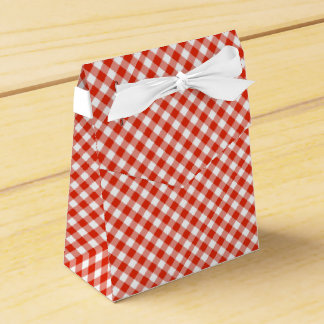 Country Gingham Check Pattern Red Party Favour Boxes