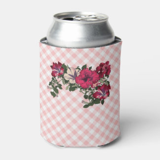 Country Gingham checks with Floral Petunia Spray Can Cooler