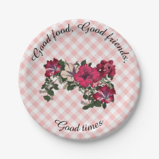 Country Gingham checks with Floral Petunia Spray Paper Plate