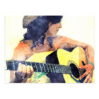 Country Girl with Acoustic Guitar Water Colour Postcard