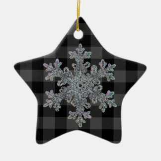 Country grey and black plaid -snowflake ceramic ornament