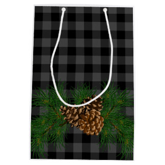 Country grey Plaid with Pine-cone detail Medium Gift Bag