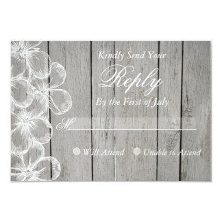Country Grey Wedding Response Card 9 Cm X 13 Cm Invitation Card