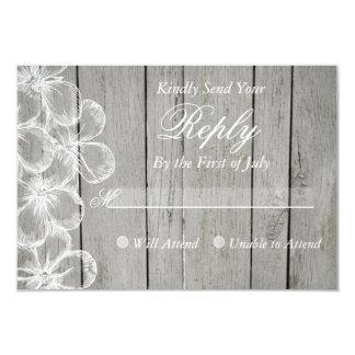 "Country Grey Wedding Response Card 3.5"" X 5"" Invitation Card"